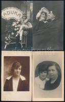 cca 1910-1930 10 db vegyes, főként műtermi portrékat tartalmazó fotólap, 13×9 cm