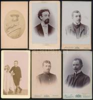 cca 1880-1900 11 db férfiakat ábrázoló keményhátú fotó, 11×7 cm