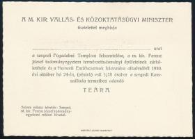 1930 Miniszteri meghívók, belépők a szegedi Fogadalmi-templom felszentelésére, boríték, 9 db belépő, menükártya