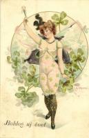 Boldog Új évet! / Gently erotic New Year greeting art postcard. Art Nouveau, floral, litho s: R. Kratki