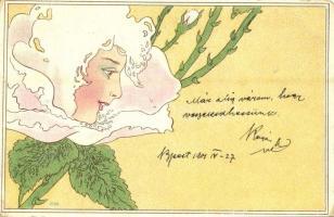 1901 Lady head in flower. Art Nouveau, litho (fa)