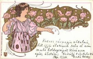 1899 Société Secession Paris No. 502. Art Nouveau lady, litho (EK)