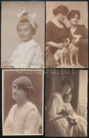 cca 1910-1925 4 db portrés fotólap, 14×9 cm