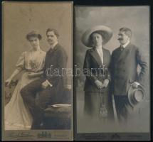 cca 1900 3 db párokat ábrázoló keményhátú portréfotó, 21×11,5 cm