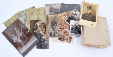 Vegyes katonai fotó, tábori levelezőlap és okmány tétel az I. és II. világháborúból