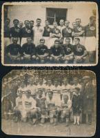 2 db régi focicsapat, Közép-Magyar válogatott, 2 db fotó, sérüléssel, 5,5×9 cm