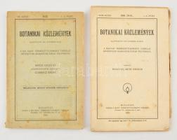 1920-1922 Botanikai Közlemények XVIII. köt. 1-6. füz., XX. 1-3. füzet. Papírkötésben, foltos borítóval. Az egyik példány felvágatlan.