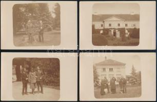 cca 1920 Vidéki kastély és lakói, 4 db fotólap, 9×14 cm