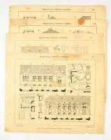 cca 1920-1930 A magyarországi földszintes mintaházak sorozat 6 lapja (12.,16.,25.,27-29.) Rákospalota-Istvántelek, Keil József, foltos, gyűrődéssel, az egyiken sérüléssel, 33x41 cm