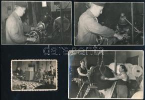 cca 1940-1970 Gyári életképek, közte Albertfalva is, 7 db fotó, az egyik hátulján feliratozva, különböző méretben