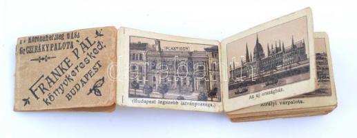 cca 1900 Budapesti látképek, 20 db kisméretű litho kép leporellóban, Franke Pál könyvkereskedő, Budapest