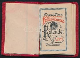 1920 Fromme`s Wiener Porte-monnaie Kalender. Wien, 1920, Carl Frommme. Német nyelven. Vászon-kötésben, az elején fém lemezzel, 5x3,5 cm.