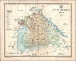 1897 Moson vármegye térképe, tervezete: Gönczy Pál, Kiadja: Posner és Fia, 30×24 cm