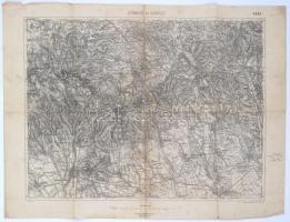 1925 Gyöngyös és Verpelét környéke, térkép, 1:75000, m. kir. állami térképészet, hajtott, kis szakadásokkal, 44,5×60 cm