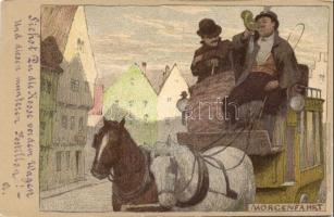 Morgenfahrt, Hubert Köhler, litho s: P. Hey