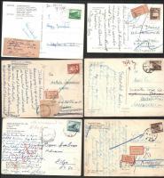 93 db képeslap változatos postai jelzésekkel, közte retour, ismeretlen, többnyelvű jelzés stb.
