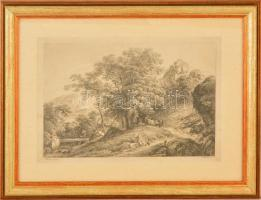 cca 1900 Martin von Molitor (1759-1812)-Joseph Mössmer (1780-1845): Hegyi utakon, offszet, paszpartuban, üvegezett fa keretben, 20x29 cm