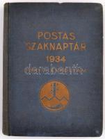 1934 Postás Szaknaptár XXXVIII. évf. Szerk.: Dr. Kovács József. Bp., Fővárosi Nyomda Rt. Kiadói kissé kopott egészvászon-kötés.