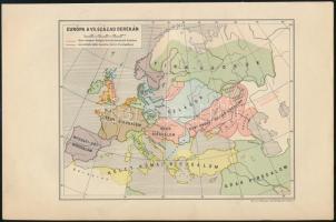 Európa a VII. század derekán, térképmelléklet, M. kir. honvéd térképészeti intézet, 23,5×15,5 cm