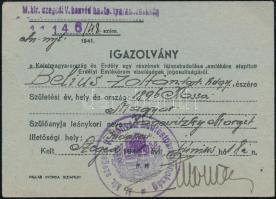 1941 Az Erdélyi Emlékérem viselésére jogosító igazolvány, tartalékos hadnagy részére, a M. kir. szegedi V. honvéd hadtestparancsnokság bélyegzőjével