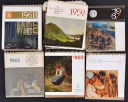 1963-1968 5 db spirálozott naptár, valamint önálló naptárlapok, valamint további spirál nélküli naptárlapok 1959-1972 közötti időszakból, hiányokkal, rajtuk művészeti illusztrációkkal.