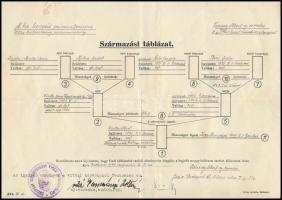 1940 Várady Albert, a m. kir. varasdi 10. honvéd huszárezred ny. ezredesének származási táblázata, Budapest Székesfőváros Vitézi Székkapitánya pecséttel, a budapesti széktartó aláírásával