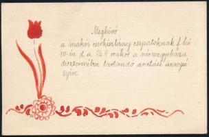 cca 1920-1940 Meghívó a makói cserkészlány csapatoknak a vármegyeháza dísztermében tartandó avatási ünnepélyére, kézzel festett, jelzett, 9x14 cm.