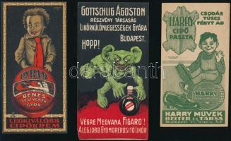6 db vegyes számolócédula (Harry cipőpaszta, Herz, Törley, Gottschlig, stb.)
