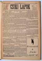 1935 Csíkszereda, Csiki Lapok. Politikai, közgazdasági és társadalmi hetilap. XLVII. évf. 1.-28.,30-31.,33-34.,37-38.,40-41.,43-44., 50.,52. számok. Nem teljes, fél évfolyam. Szerk.: Részegh Viktor. Csíkszereda, Vákár-nyomda. Hírekkel, korabeli reklámokkal. Félvászon-kötésben, egy lapon nyomdahibával, néhány szakadt lappal, egy lap sarkán hiánnyal, de ezeket leszámítva jó állapotban.