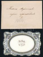 1863 Boldog Új Évet - üdvözlő kártya, eredeti borítékkal, 6x9 cm