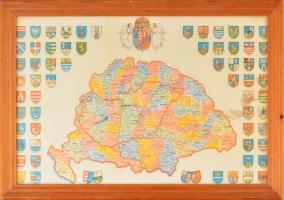 A történelmi Magyarország térképe a megyei címerekkel. Modern térkép, üvegezett keretben, 48x32 cm