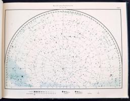 1957 A csillagos ég térképe. Az 1950-es aequinoctiumra. Összeáll.: Prof. Dr. Otto Kohl és Gerhard Felsmann. Bp.,1957, Akadémiai Kiadó, 8 p.+ XVI t. Kiadói haránt-alakú félvászon-kötés, kissé kopott borítóval, volt könyvtári példány.