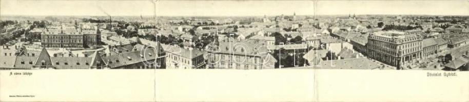 Győr, látkép a zsinagógával. Három-részes panorámalap / 3-tiled panoramacard