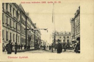 1902 Győr, Deák utca feldíszítve 1902 április 12-13-án, Isten hozott felirat. Gróf Széchenyi Miklós győri püspök beiktatásakor
