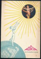 cca 1935 Bp., Adria Selyemszövőgyár Rt. reklámlapja a műselyem anyagok tisztításáról, hátoldalon a Kőbányán található gyár bejáratának és épületének fotójával