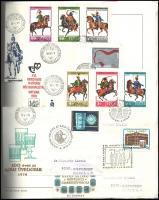 Magyar gyűjtemény 1976-1980 Sorok, blokkok, FDC-k csavaros albumban