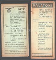 1936 IBUSZ szállodajegyzék és balatoni vasúti menetrendek hoteljegyzékkel, 2 db