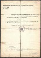 1935 A Budapest Székesfőváros Testnevelési és Népgondozó Felügyelőség által katonai főhadnagyi rendfokozat címet adományozó irat Friedrich István részére.
