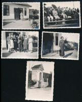1935-36 Budaörsi tájak, életképek, a képek hátoldalon feliratozva, 5 db, 9x7 cm