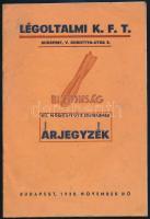 1938. Légoltalmi Kft. VII. módosított árjegyzéke, 1938. nov., Bp., Antos és Társa., az utolsó lap foltos, 12 sztl. lev.