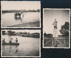 1933 Dunaharaszti életképek, a képek hátoldalon feliratozva, 3 db, 9x6 cm