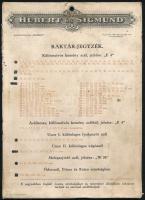 cca 1910 Hubert és Sigmund Acél és Fémárugyár Rt. Durex raktár-jegyzéke, Bp., Posner, kétoldalas kartonlap, kopott, foltos, 24x17 cm