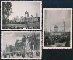 1938 Budapest Országház, Hősök tere, Eucharisztikus Kongresszus, 3 db, 9x6,5 cm