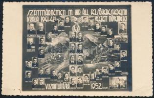 1942 Szatmárnémeti, A Szatmárnémeti M. Kir. Áll. Felsőkereskedelmi Iskola 1941-42-ben végzett növendékei, kicsinyített tablófotó,13,5x8,5 cm