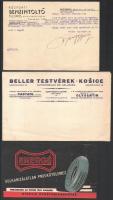 cca 1940 Autózáshoz kapcsolódó nyomtatványok, számla, zászló, füzet