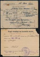 1946-1953 6 db militária okmány: utazási igazolvány .hadifogoly, fegyvertartás igazolvány, egyéb.