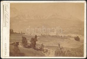 cca 1895 Cortina (Dél-Tirol) látképe, Gaet Ghedina keményhátú fotója, 11×16 cm / Cortina dAmpezzo, South Tyrol, vintage photo