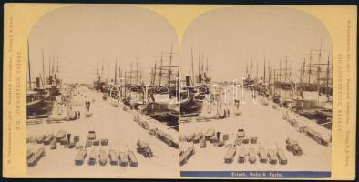 1890 Trieszt, móló, sztereófotó, jó állapotban, 8,5×17,5 cm / Trieste, Italy, stereo photo