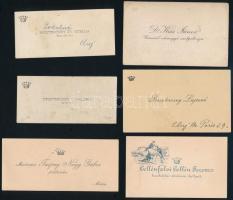 cca 1920-1940 10 db koronával vagy címerrel díszített névjegy pl Csanád megye szolgabírája