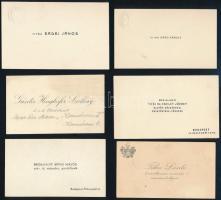 cca 1920-1940 10 db vitézi címerrel díszített névjegy katonatisztek, fogház felügyelők